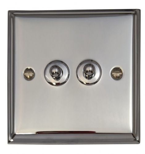 G&H DC282 Deco Plate Polished Chrome 2 Gang 1 or 2 Way Toggle Light Switch